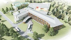 Havainnekuva Holiday Club Saimaan päärakennuksesta. Taustalla Rauhan sairaalan vanha päärakennus.