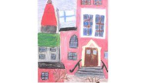 Lapsen piirtämä kuva Johanneksen koulusta