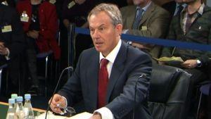 Tony Blair kuulemistilaisuudessa.