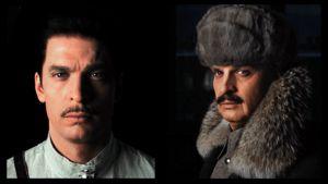 Mannerheimia esittävä Mikko Nousiainen 20-vuotiaana Mannerheimina vasemmalla ja 55-vuotiaana Mannerheimina oikealla.