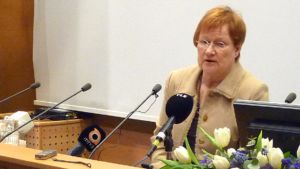 Tasavallan presidentti Tarja Halonen Kemissä.