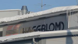 Kuvassa: Häggblomin konepaja Kokkolassa. Lähikuva kyltissä.
