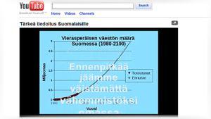 """Kuva videopalvelu YouTubesta, jossa on esillä video """"Tärkeä tiedoitus Suomalaisille"""". Teksti: """"Ennenpitkää jäämme väistämättä vähemmistöksi""""."""