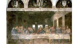 Maalauksessa Jeesus ja opetuslapset nauttivat viimeistä ehtoollista pitkän pöydän ääressä.