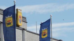 Lippuja Kokkolan kaupungintalon edessä. Taustalla näkyy katolla oleva vaakuna