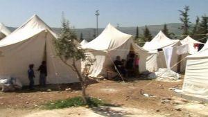 Syyrialaispakolaisten telttaleiri.