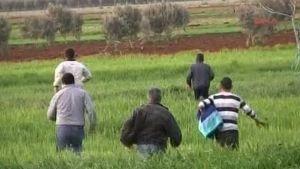 Syyrialaiset pakolaiset juoksivat Turkin ja Syyrian rajalla.