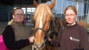 Kaisa Kuokkanen ja Piia Kantoluoto hevosen kanssa