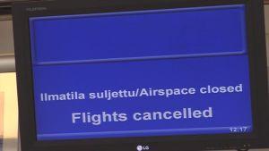 Ilmatila suljettu -ilmoitus Kuopion lentoasemalla
