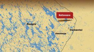 Kartta, johon merkitty Hattuvaaran kylä Ilomantsissa lähellä Suomen itäisintä kolkkaa.