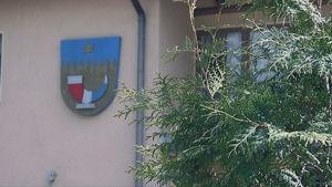 Tuijan takaa näkyy Hämeenkyrön vaakunta kunnantalon seinässä