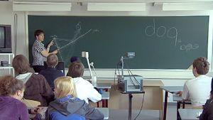 Opettaja ja oppilaita luokassa opetustilanteessa.