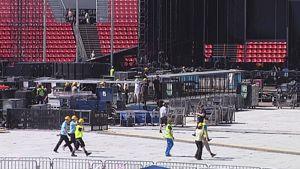 AC/DC:n lavaa rakennetaan Tampereen Ratinassa.