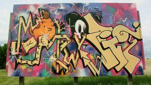 Graffititeos Taidekeskus Purnun edustalla
