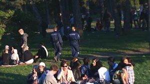 Pollisi valvoo nuorten juhlintaa puistossa