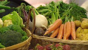 Kukkakaali, parsakaali, punajuuria, nauriita, porkkanoita, perunoita ja mansikoita esillä koreissa.
