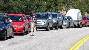 Midsummer traffic congestion.
