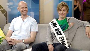 Sami Montell ja Kenneth Liukkonen Aamu-tv:n studiossa.