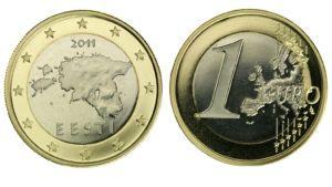 Viron yhden euron kolikko.