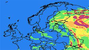 Venäjältä leviävien savujen ennuste torstaiaamuksi.
