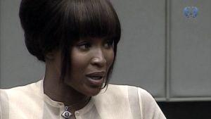 Naomi Campbell todistamassa Haagissa