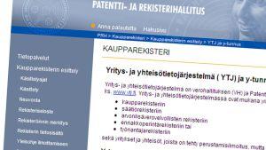 Patentti- ja rekisterihallituksen nettisivu.