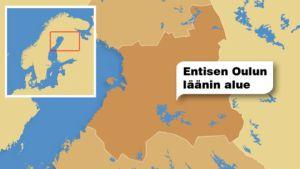 Kartta entisen Oulun läänin alueesta