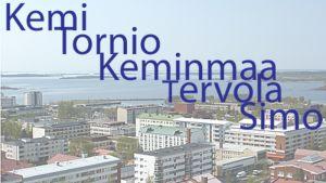 Kuntajakoselvityksen viisi kuntaa ovat Kemi, Tornio, Keminmaa, Tervola ja Simo