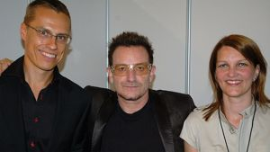 Bono, Alexander Stubb ja Mari Kiviniemi