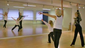 Anni Nirkko ja Sini Iivonen harrastavat show-tanssia Marianna Iivosen johdolla.
