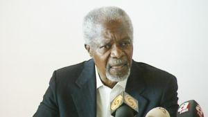Kofi Annan puhui Syyrian tilanteesta lehdistötilaisuudessa Hatayssa tänään, 10. huhtikuuta 2012.
