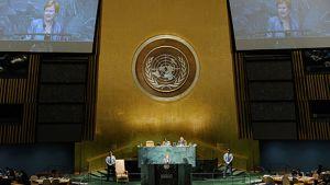 Presidentti Tarja Halonen puhumassa YK:n yleiskokoukselle.