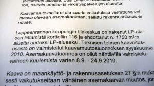 Lappeenrannan teknisen lautakunnan esityslistaa 6.10.2010
