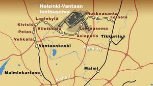 Karttakuvassa kehäradan linjaus ja uudet asemat