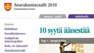 Seurakuntavaalien internet-sivut.