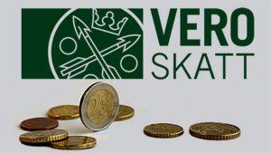 Kuvassa Verotoimiston logo ja kolikoita.