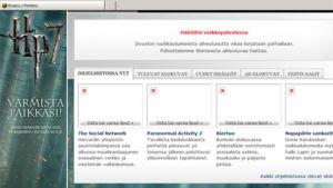 Häiriöilmoitus Finnkinon nettisivustolla.