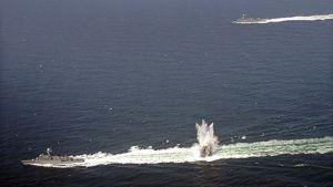 Etelä-Korean laivaston alukset harjoittelemassa sukellusveneiden torjuntaa elokuussa.