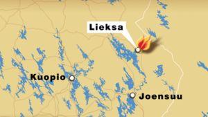 Kartta Lieksan sijainnista Kuopion ja Joensuun lähellä.