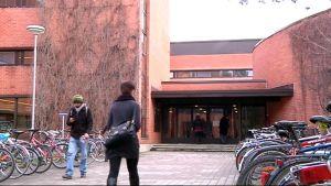 Opiskelijoita menossa yliopiston punatiiliseen Metria-rakennukseen.