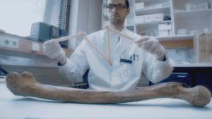 Tutkija mittaa luun pituutta.