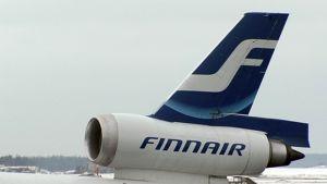 Airbusin peräsin ja pyrstömoottori.