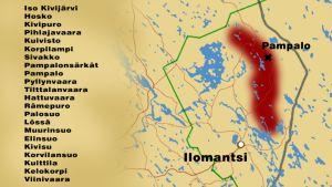 Kartta, johon on merkitty Karjalan kultalinja ja sen varrelle osuvat paikat.