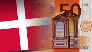 Tanskan lippu ja 50 euron seteli