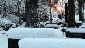Hautausmaa talviaamuna.