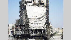 Tuhoutunut Muhathab Rajjoob -ostoskeskus Homsissa 10. huhtikuuta 2012.