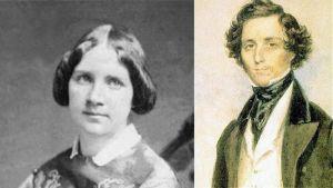 Mustavalkoinen valokuva Jenny Lindistä koulutyttönä ja James Warren Childen miniatyyrimaalaus nuoresta Felix Mendelssohnista