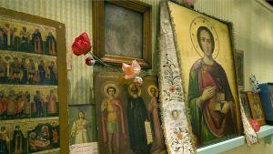 Ikoneita Ortodoksisen kirkkomuseon näyttelyssä Kuopiossa.