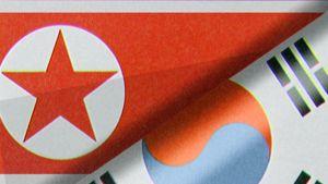 Pohjois-Korea ja Etelä-Korean liput.