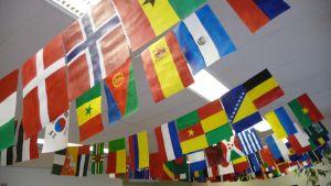 Eri maiden lippuja monikulttuurikeskus Kompassissa.